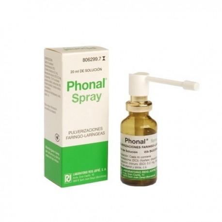 PHONAL SPRAY 0,2 mg/ml + 0,2 mg/ml SOLUCION PARA PULVERIZACION BUCAL Y LARINGOFARINGEA 1 FRASCO 20 m