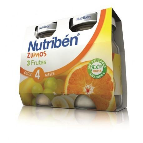 NUTRIBEN ZUMO 3 FRUTAS 2 ENVASES 130 ml BIPACK
