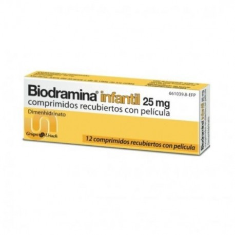 BIODRAMINA INFANTIL 25 mg 12 COMPRIMIDOS RECUBIERTOS