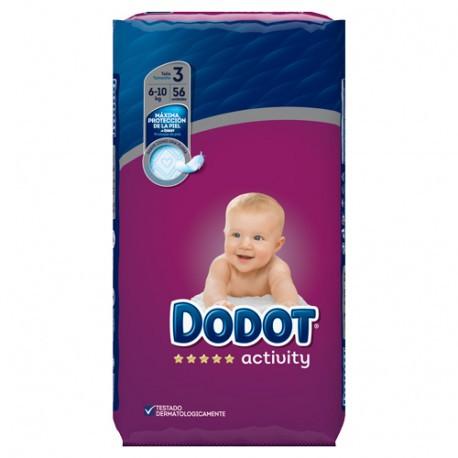 PAÑAL INFANTIL DODOT PROTECTION PLUS ACTIVITY T- 3 06-10 KG 56 U